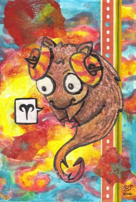 Art: Aries zodiac monster lowbrow mixed media art by Artist Emily J White