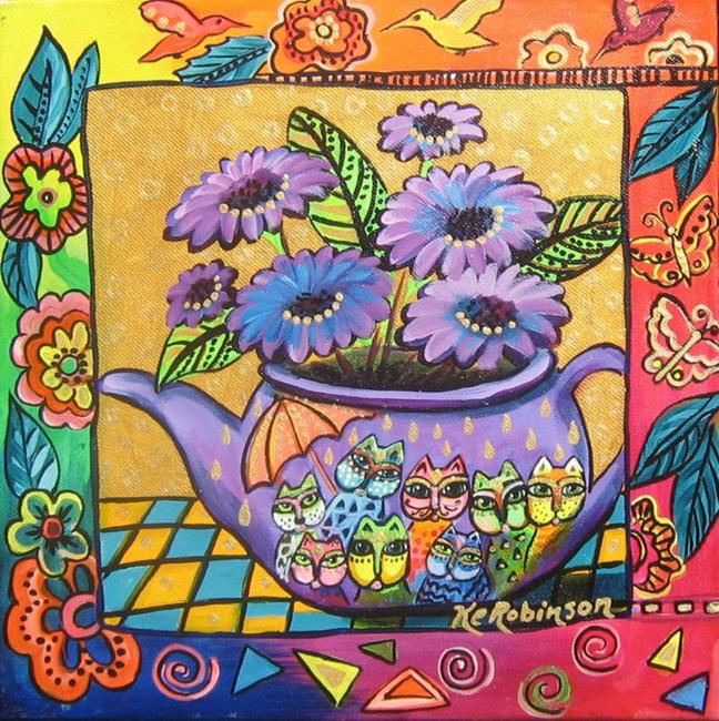 Art: Teapot Cats -Sold by Artist Ke Robinson