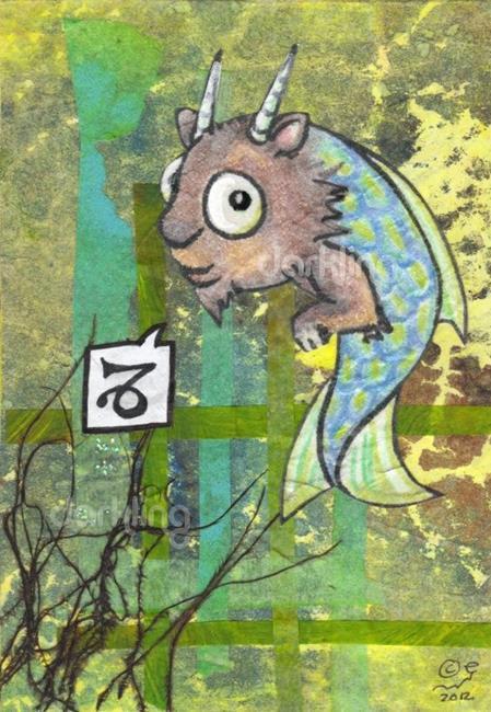 Art: Capricorn Zodiac Monster by Artist Emily J White