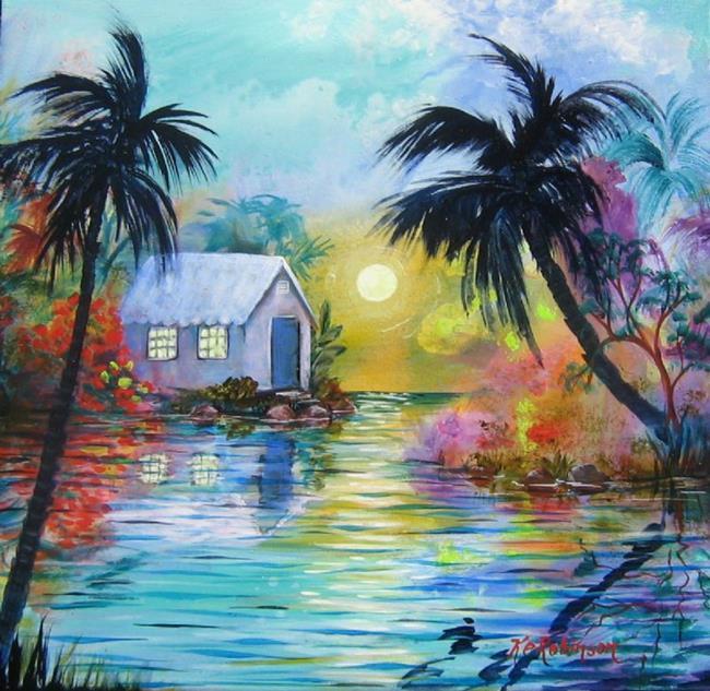 Art: Tropical SunDown -SOLD by Artist Ke Robinson