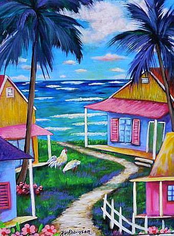 Art: Path 2 the Beach Key West Cottages 1307 by Artist Ke Robinson