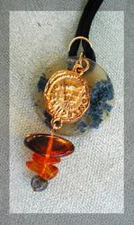 Art: Pirate's Gold and Amber Pendant by Artist Cathy  (Kate) Johnson