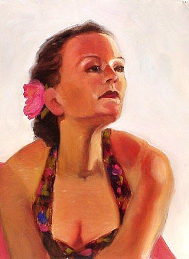 Art: Pink Flower by Artist Debra Schott