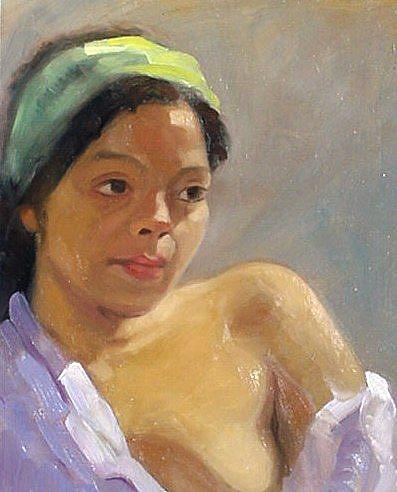 Art: Patty in Lilac Robe by Artist Debra Schott