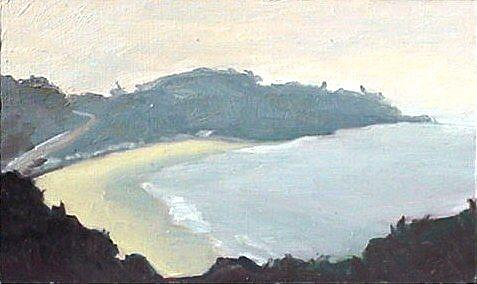 Art: Foggy Morning Reefs Point by Artist Debra Schott