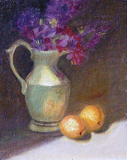 Art: Lavender in Green Pitcher by Artist Debra Schott