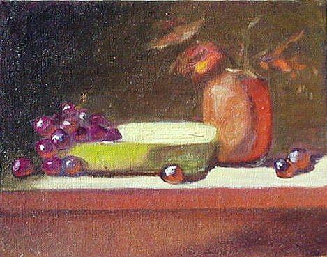 Art: Still Life w/ Grapes by Artist Debra Schott