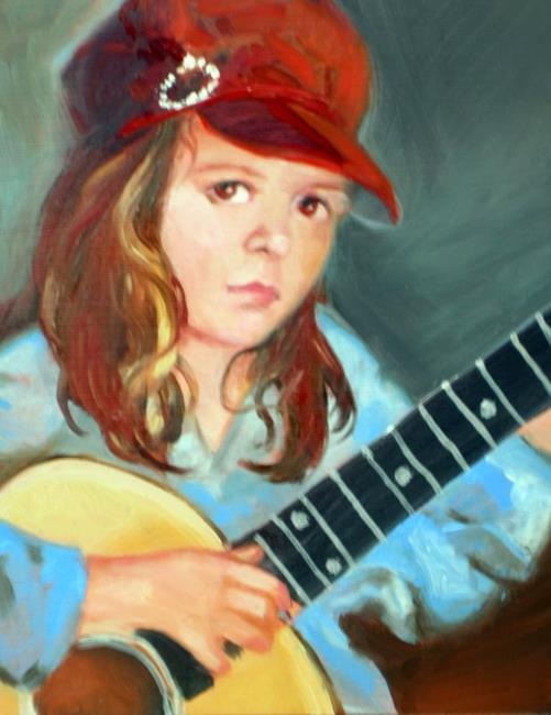 Art: Girl with Guitar by Artist Debra Schott
