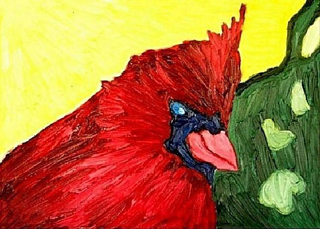 Art: Cardinal on Bush by Artist Shane Darren Ervin