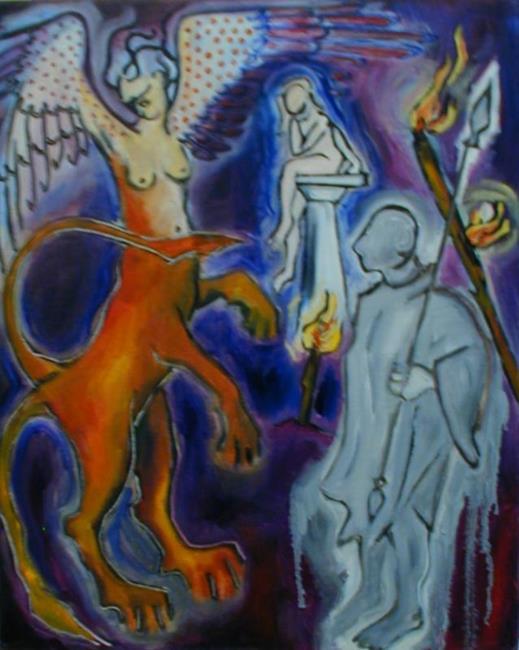 Art: Oedipus and Sphinx in the Underworld (Sphinx series) by Artist Angie Reed Garner