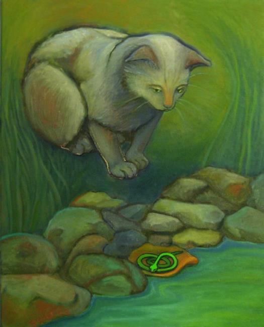 Art: Stalking a Painted Rock / unavailable by Artist Elizabeth Fiedel