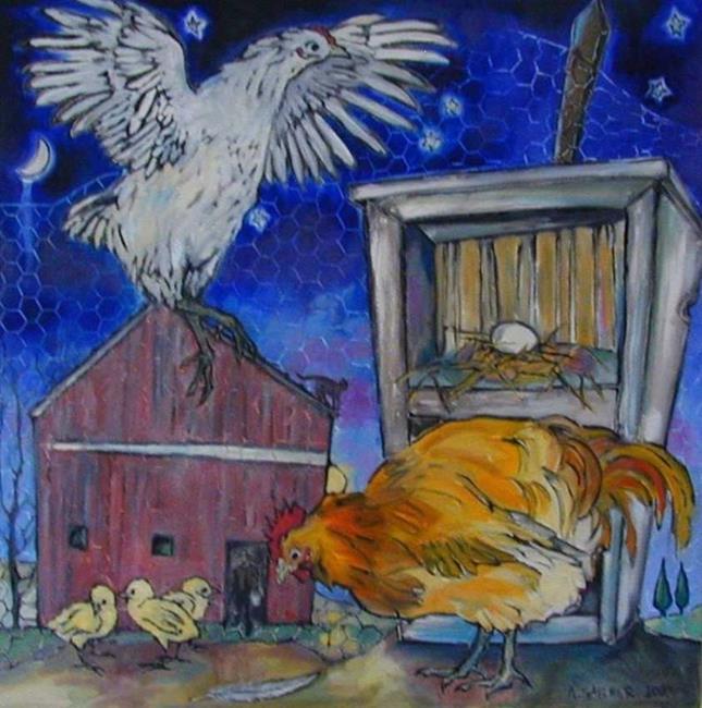 Art: chicken allegory [SOLD] by Artist Angie Reed Garner