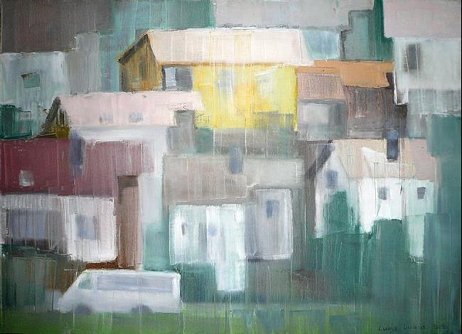 Art: Small Village - oil 28x20 by Artist Luba Lubin