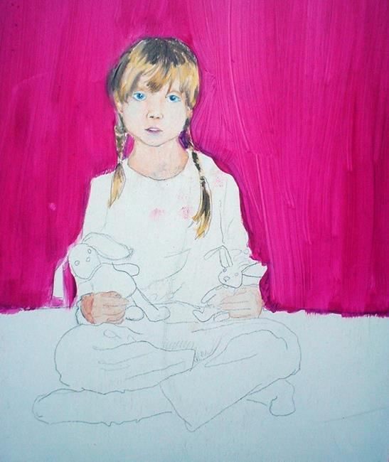 Art: WIP Grier sits with bunnies by Artist Noelle Hunt