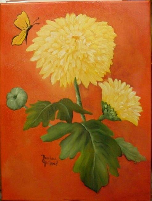 Art: Yellow Mums  by Artist Barbara Haviland