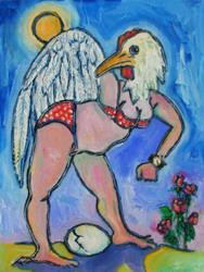 Art: portrait of the artist as a chicken, #2 by Artist Angie Reed Garner