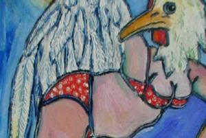 Detail Image for art portrait of the artist as a chicken, #2