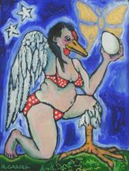 Art: portrait of the artist as a chicken, #3 by Artist Angie Reed Garner