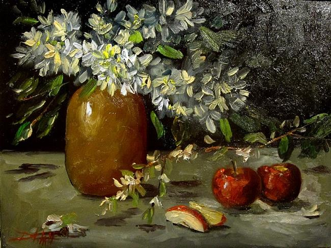 Art: Floral Still Life with Apples by Artist Delilah Smith
