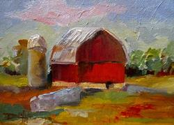 Art: Country Red Barn by Artist Delilah Smith