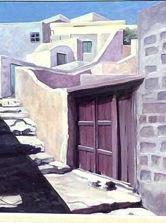 Art: Santorini Doorway by Artist Debra Schott