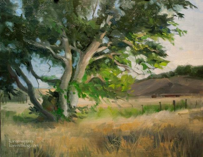 Art: Sycamore Breezes - California Central Coast Landscape Oil Painting SOLD by Artist Karen Winters