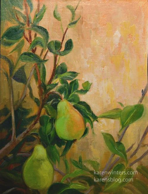 Art: Pear Tree with Fruit oil painting by Artist Karen Winters