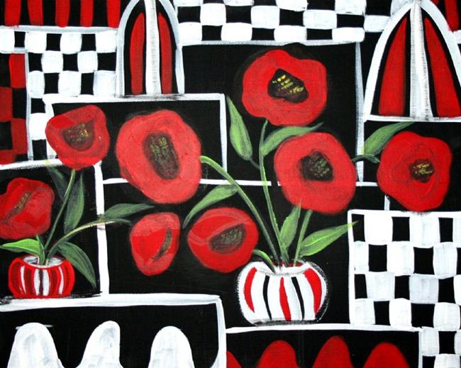 Art: RED POPPIES-sold by Artist LUIZA VIZOLI