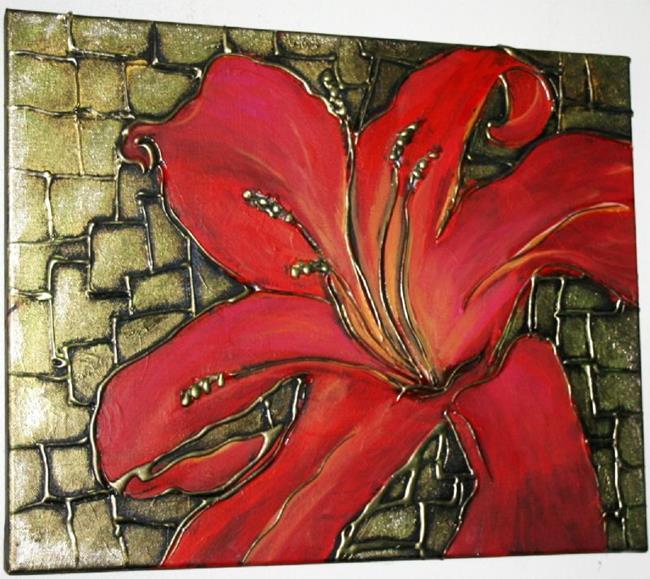 Art: RED LILY on FESTIVE GREEN-SOLD by Artist LUIZA VIZOLI