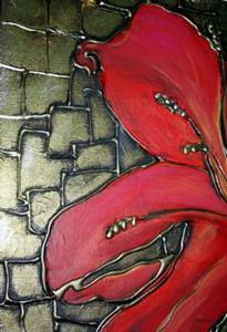 Detail Image for art RED LILY on FESTIVE GREEN-SOLD