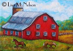 Art: Red Barn and Horses Impasto Oil Painting by Artist Lisa M. Nelson
