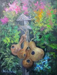 Art: Goards with Flowers by Artist Barbara Haviland