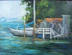 Art: Boat Dock with Boats by Artist Barbara Haviland