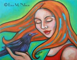 Art: Spiritual Strength Woman and Crow Totem Painting by Artist Lisa M. Nelson