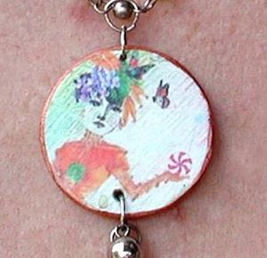 Detail Image for art Peppermint Fairy Charm Necklace with Fairy Dust ORIGINAL HAND MADE Pendant