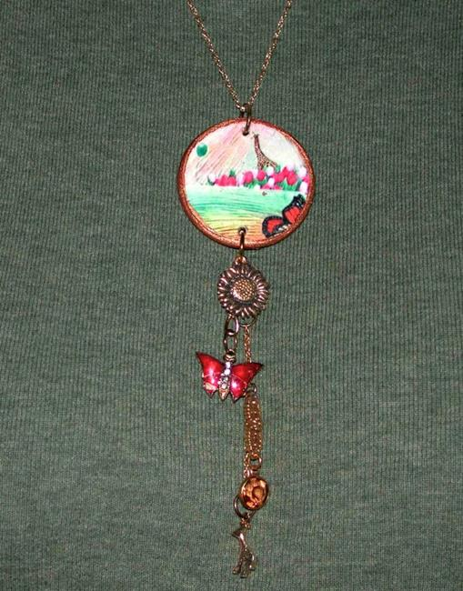 Art: NFS GIRAFFE & FOUND OBJECT CHARM NECKLACE by Artist Shawn Marie Hardy