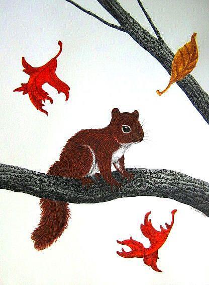 Art: Chickeree Confetti (SOLD) by Artist Jackie K. Hixon