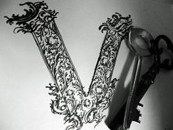 Art: Hand Lettered V by Artist Chris Jeanguenat