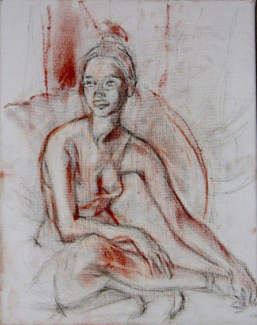 Art: Resting ballerina by Artist Luda Angel