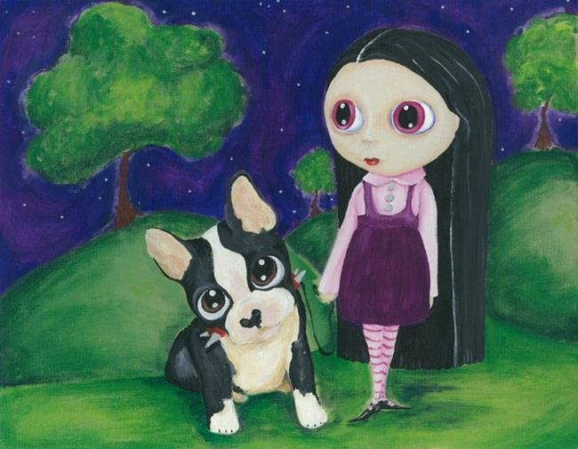 Art: A Pity Puppy & Big Eyed Goth Girl Print by Artist Noelle Hunt