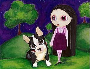 Detail Image for art A Pity Puppy & Big Eyed Goth Girl Print