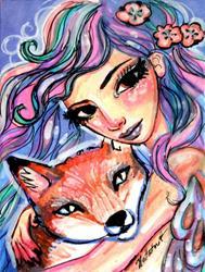 Art: Ice Fairy and Fox by Artist Natasha Wescoat