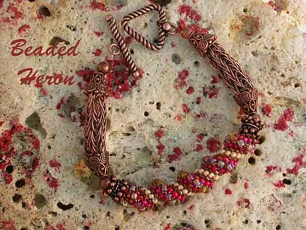 Art: Textured Red Spiral Bracelet  by Artist Stephanie M. Daigle