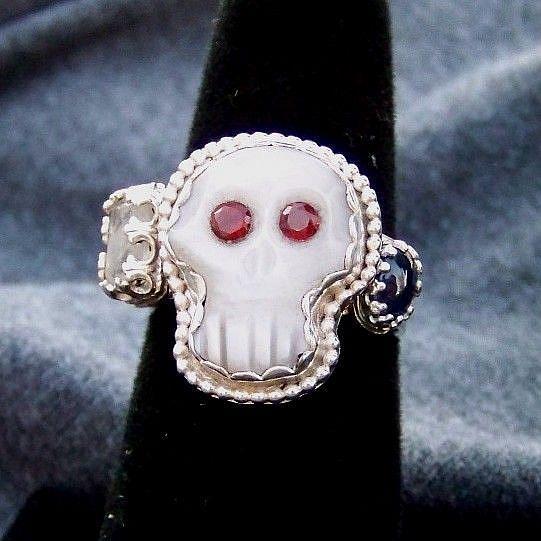 Art: Amelia Skull Stack ring by Artist Marvin Lee Billings