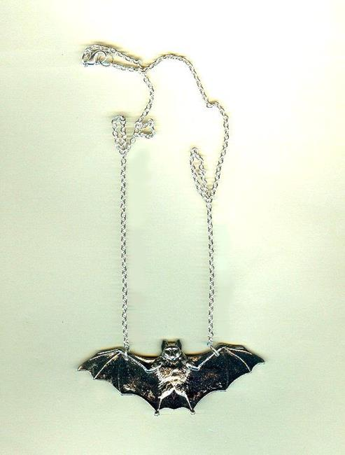 Flying Bat Pendant Necklace Silver Plated Brass Casting - by