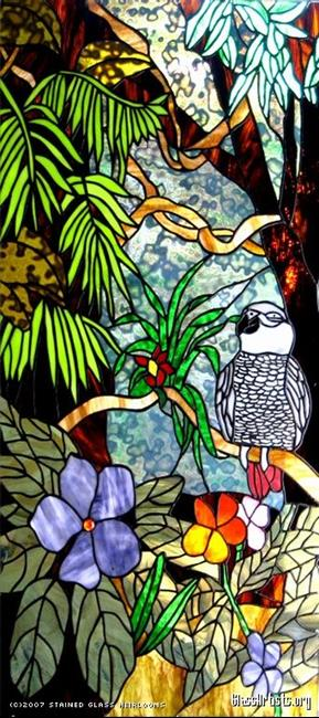 Art: African Grey Parrot Stained Glass Window Panel by Artist Phil Petersen
