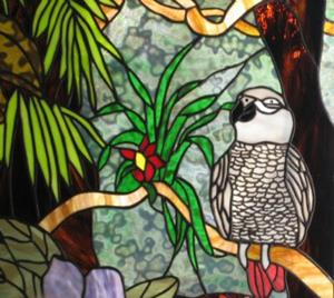 Detail Image for art African Grey Parrot Stained Glass Window Panel