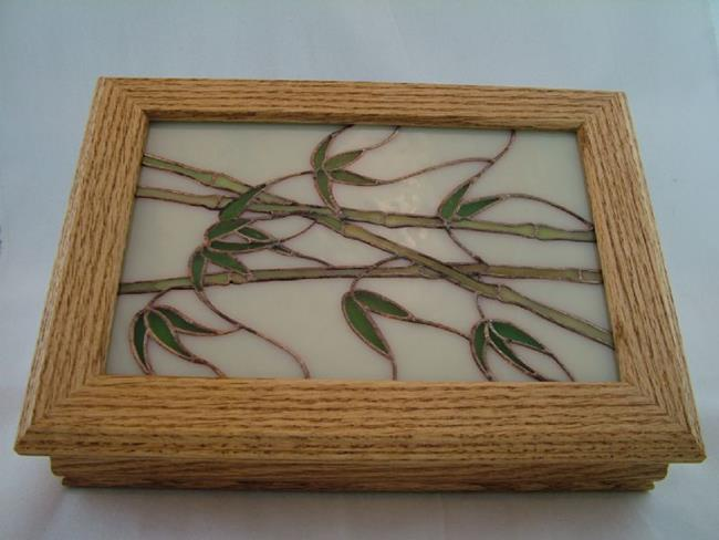 Art: Oak Box with Stained Glass Bamboo Inset by Artist Linda J. McGarvey