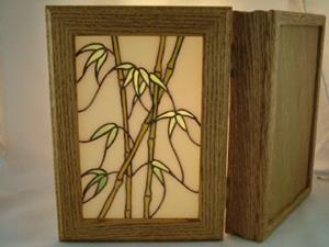Detail Image for art Oak Box with Stained Glass Bamboo Inset