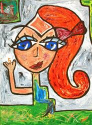 Art: Redhead Girl with a Red Bow by Artist Diane G. Casey
